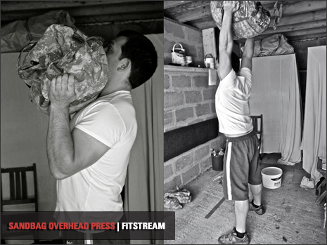 sandbag overhead press